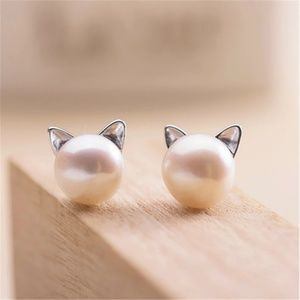 😻 Pearl Cat Earrings